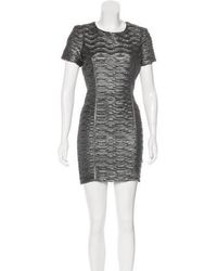 Torn By Ronny Kobo - Textured Bodycon Mini Dress Silver - Lyst