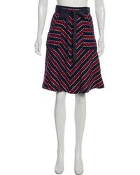 Sacai Luck - Striped Wrap Skirt Navy - Lyst