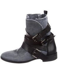 Maje - Denim & Leather Ankle Boots Blue - Lyst