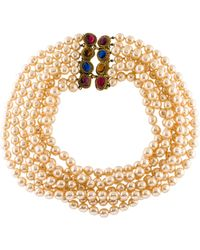 Chanel - Faux Pearl & Gripoix Multistrand Necklace Gold - Lyst
