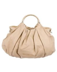 Love Moschino - Pleated Leather Satchel Tan - Lyst