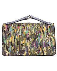 Dries Van Noten - Leather-trimmed Printed Handle Bag Green - Lyst