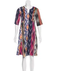 Warm - Abstract Knee-length Dress Navy - Lyst