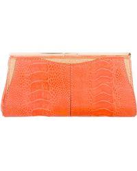 VBH - Ostrich Leg Glitter Clutch Orange - Lyst