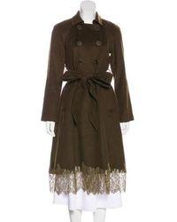 Lela Rose - Wool Long Coat Olive - Lyst