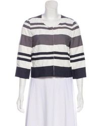Narciso Rodriguez - Striped Lightweight Jacket Grey - Lyst