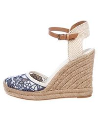 5fb3cf1d98a Lyst - Tory Burch Canvas Wedge Sandals Beige in Natural