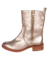 939a1069a65279 Lyst - Tory Burch Hyde Ankle Boots Navy in Metallic
