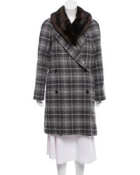 Thakoon Addition - Wool Fur-trim Knee-length Coat Grey - Lyst