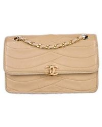 Chanel - Vintage Cc Flap Bag Beige - Lyst