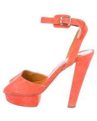 Carven - Suede Platform Sandals Orange - Lyst