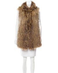 Co. - Longline Fur Vest Brown - Lyst