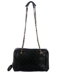 5c09ea951b1178 Lyst - Chanel Vintage Quilted Shoulder Bag Black in Metallic