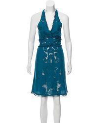 Talitha - Pom- Trimmed Halter Dress - Lyst