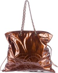 Chanel - Patent Leather Bon Tote Silver - Lyst