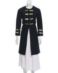 Gryphon - Embellished Knee-length Coat Navy - Lyst