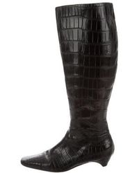 Dior - Embossed Leather Knee-high Boots Black - Lyst