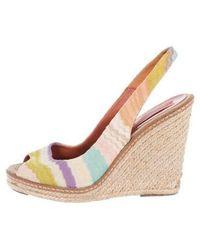 M Missoni - Peep-toe Slingback Wedges Multicolor - Lyst