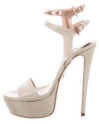 Ruthie Davis - Patent Leather Platform Sandals Nude - Lyst