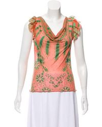Class Roberto Cavalli - Fluted Floral Print Top Multicolor - Lyst
