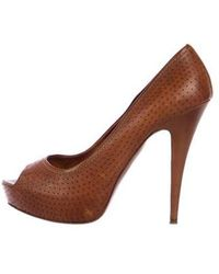 Miu Miu - Miu Perforated Peep-toe Pumps Cognac - Lyst