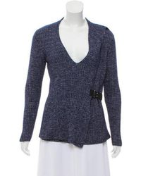 MICHAEL Michael Kors - Michael Kors Leather-trimmed Rib Knit Sweater - Lyst