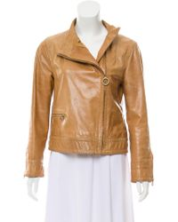 Marc Jacobs - Leather Collarless Jacket Tan - Lyst