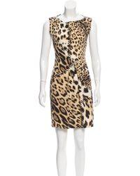 Roberto Cavalli - Printed Mini Dress Tan - Lyst
