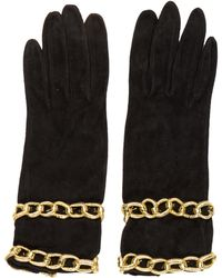 Moschino - Suede Embellished Gloves Black - Lyst