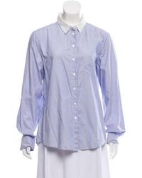 Band of Outsiders - Pinstripe Button Up Top - Lyst