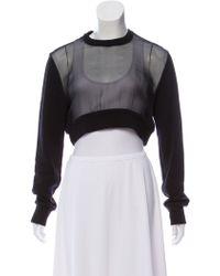 Givenchy - Crop Sheer-paneled Sweatshirt - Lyst