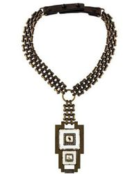 Lanvin - Crystal Deco Collar Necklace Brass - Lyst