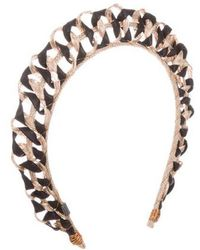 Colette Malouf - Leather-trimmed Wire Headband Black - Lyst