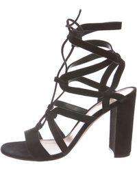 e23ec7cf2966 Lyst - Gianvito Rossi Suede Lace-up Sandals in Black