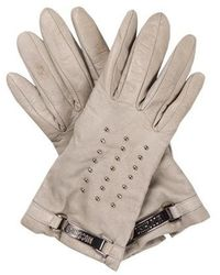 Moschino - Leather Studded Gloves Silver - Lyst