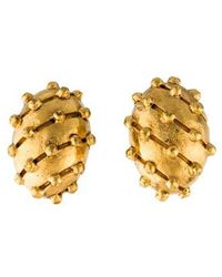Chanel - Vintage Clip-on Earrings Gold - Lyst