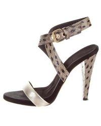 Giambattista Valli - Embossed Ankle Strap Sandals Beige - Lyst