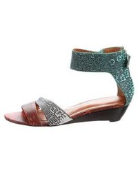 Rebecca Minkoff - Lizard Wedge Sandals - Lyst