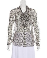 Thakoon - Printed Silk Top Grey - Lyst