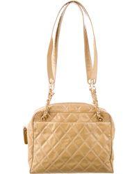 Chanel - Quilted Vinyl Shoulder Bag Beige - Lyst