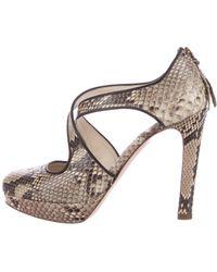 c3c32a8d71f Lyst - Miu Miu Miu Snakeskin Platform Sandals in Brown