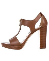 91184b18c86 Lyst - Michael Michael Kors Kimber Leather Heeled Sandals in Brown