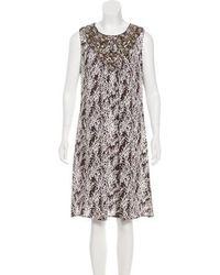 Tory Burch - Silk Embellished Sleeveless Dress - Lyst