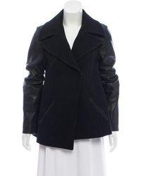 VEDA - Leather Trimmed Short Coat - Lyst