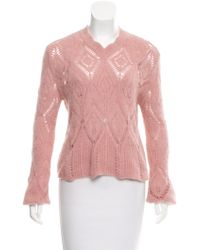 Dior - Angora Open Knit Sweater - Lyst
