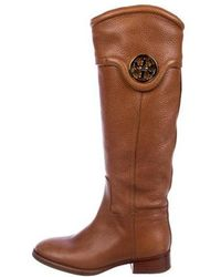 f303407d160 Lyst - Tory Burch Leather And Suede Knee Boots Black in Metallic