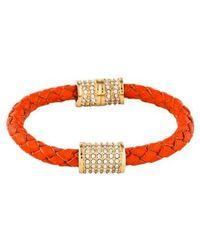 Michael Kors - Braided Leather & Crystal Bracelet Gold - Lyst