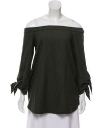 2905e4d92fbac Tibi - Off-the-shoulder Long Sleeve Top Olive - Lyst