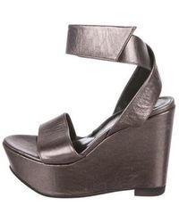 9ea237f8a2a6 Lyst - Robert Clergerie Peep-toe Platform Wedges in Black