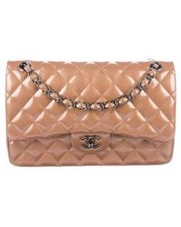 aaba19d27947 Lyst - Chanel Patent Leather Medium Classic Double Flap Bag Black in ...